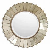 Amberlyn Antiqued Gold Leaf Round Mirror