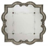 Prisca Distressed Silver with Black Unique Framed Mirror