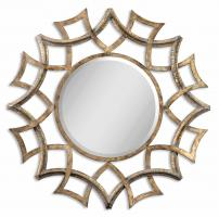 Uttermost Demarco Antiqued Gold Round Mirror