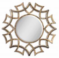 Demarco Antiqued Gold Round Mirror