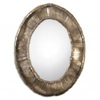 Vevila Hand Forged Metal Strips Oval Mirror