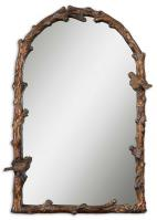 Paza Arched Antiqued Gold Leaf with a Gray Glazy Mirror