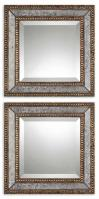 Norlina Square Antiqued Gold Leaf with Dark Gray Wash Mirror