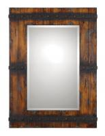 Uttermost Stockley Rectangular Antiqued Mahogany with Burnished Details Mirror