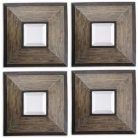 Uttermost Fendrel Square Distressed Wood with Rustic Dark Bronze Mirror