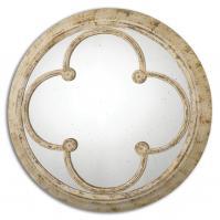 Livianus Distressed Rust Ivory Round Mirror