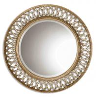 Uttermost Entwined Scratched Silver Center Round Mirror