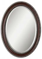 Uttermost Montrose Oval Distressed Dark Mahogany Wood Tone Mirror