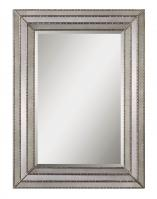 Seymour Rectangular Antiqued Inlays with Burnished Silver Details Mirror