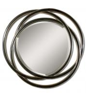 Odalis Matte Black with Silver Leaf Round Mirror