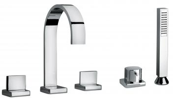 Dual Lever Roman Tub Faucet with Hand Shower