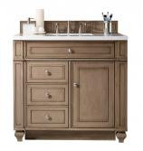 36 Inch Single Sink Bathroom Vanity in White Washed Walnut