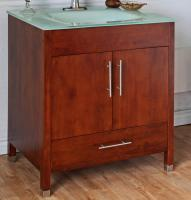 33 Inch Single Sink Bathroom Vanity with a Medium Walnut Finish