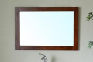 Rectangular Solid Wood Walnut Frame Mirror