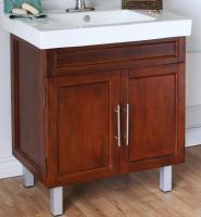 31.5 Inch Single Sink Bathroom Vanity with a Medium Walnut Finish