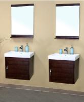 25 Inch Double Sink Bathroom Vanity in Medium Walnut