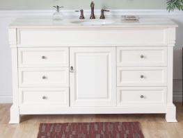 60 Inch Single Sink Bathroom Vanity in Cream White