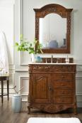 36 Inch Single Sink Bathroom Vanity in Cherry with Beige Marble Top
