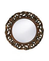 Glendale Round Mottled Bronze with Gold & Antique White Wash Mirror
