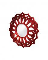 Howard Elliott Casey Round Metallic Red Mirror