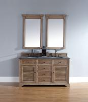 60 Inch Double Sink Bathroom Vanity in Driftwood Finish