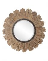 Howard Elliott Hawthorne Round Layered Natural Wood Mirror