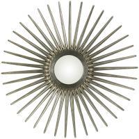 Cooper Classics Sunburst Round Antique Silver Mirror