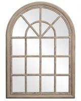 Howard Elliott Fenetre Arched Rustic Windowpane Style with Distressed Taupe Mirror