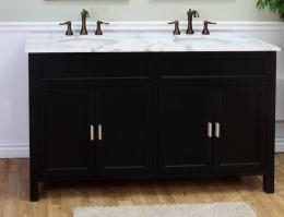60 Inch Double Sink Bathroom Vanity in Ebony
