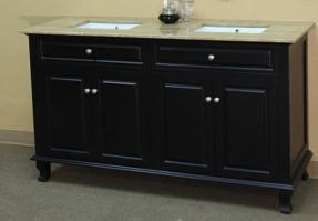 62 Inch Double Sink Bathroom Vanity in Ebony