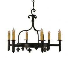 6 Light Mission Wrought Iron Chandelier