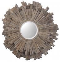 Vermundo Round Light Walnut with Burnished Details Mirror