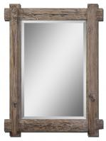 Uttermost Claudio Rectangular Light Walnut with Burnished Details Mirror