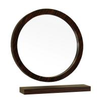 Round Solid Wood Ebony Frame Mirror