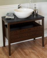 35.5 Inch Single Sink Bathroom Vanity with a Dark Walnut Finish