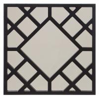 Anakin Glossy Black Lattice Design Square Accent Mirror