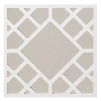 Anakin Glossy White Lattice Design Square Accent Mirror