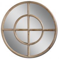 Eliseo Round Light Walnut Mirror