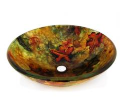 Legion Furniture Multi Colored Round Glass Vessel Sink 214
