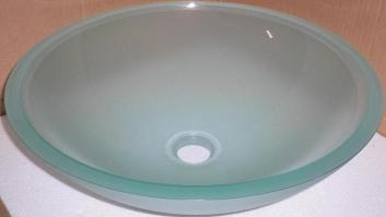 Semi Frosted Glass Vessel Sink Bowl
