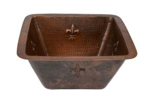 15 Inch Square Fleur De Lis Copper Bar or Prep Sink