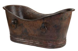 72 Inch Hammered Copper Double Slipper Bathtub With Rings