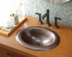 Antique Copper Drop-In Bathroom Sink