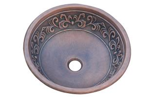 Yosemite Home Decor Copper Leaf Design Round Vessel Sink