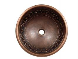 Yosemite Home Decor Copper Vine Design Round Vessel Sink