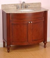 36 Inch Single Sink Modern Bathroom Vanity with Cognac Finish and Choice of Counter Top