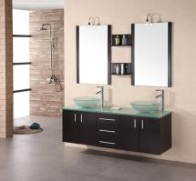 61 Inch Modern Double Vessel Sink Bathroom Vanity in Espresso