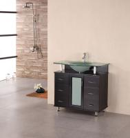 36 Inch Modern Single Sink Vanity with Frosted Glass Countertop and Sink