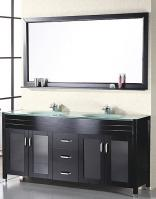 72 Inch Modern Double Sink Bathroom Vanity with Glass Countertop and Sinks