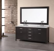 72 Inch Modern Double Sink Bathroom Vanity in Espresso with White Marble
